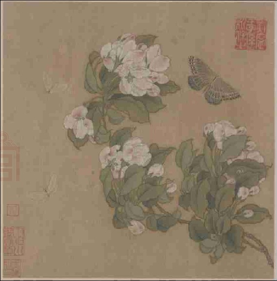 海棠蛱蝶图页 - 经典欣赏