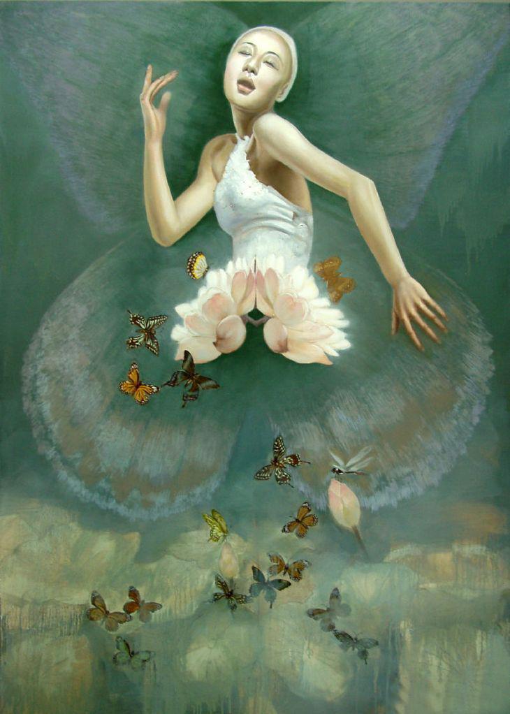 可爱小天使翅膀油画