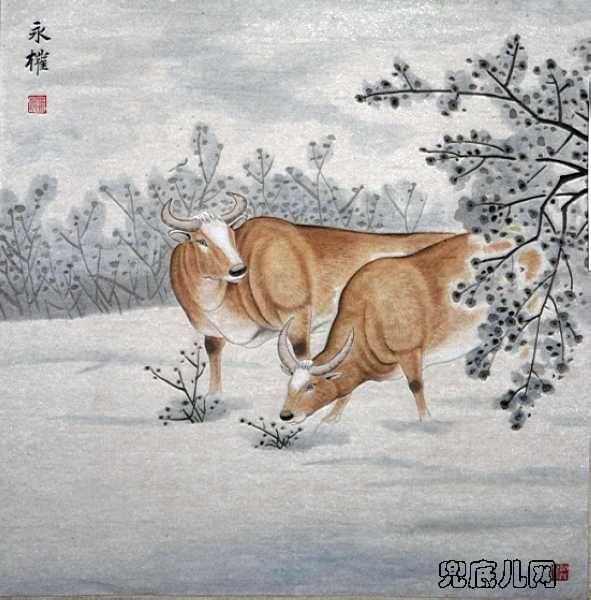 工笔画的基础上,追求一种寓言故事的解读效果,把人类对牛的感情融入画