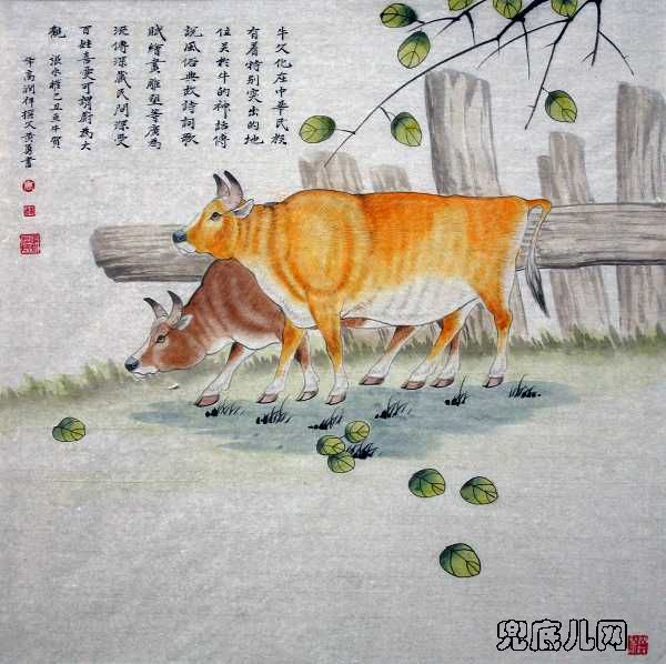 工笔画的基础上,追求一种寓言故事的解读效果,把人类对牛的感情融入